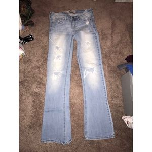 hollister boot cut ripped jeans